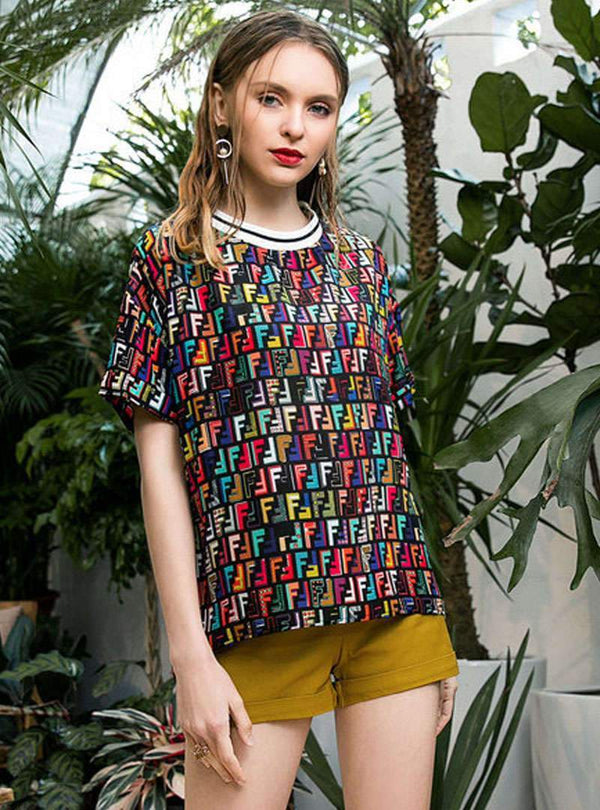Stylish Printed Short Sleeves Loose T-shirt