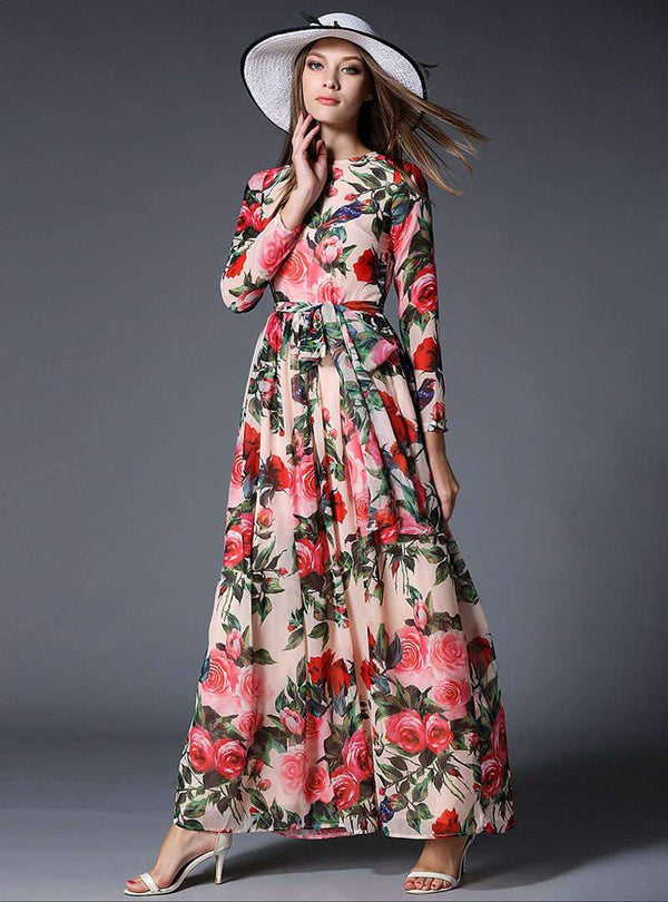 Multi Color Floral Printed Belted Waist Maxi Dress