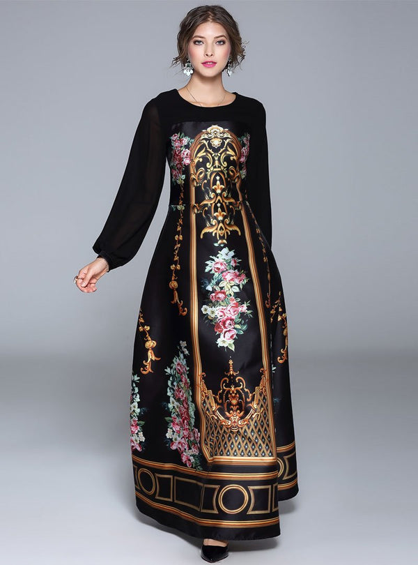Black Floral Printed Lantern Sleeve Maxi Dress