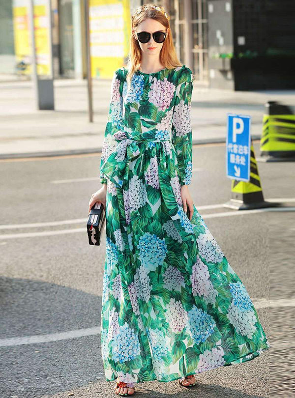 Green Floral Printed Belted Maxi Dress