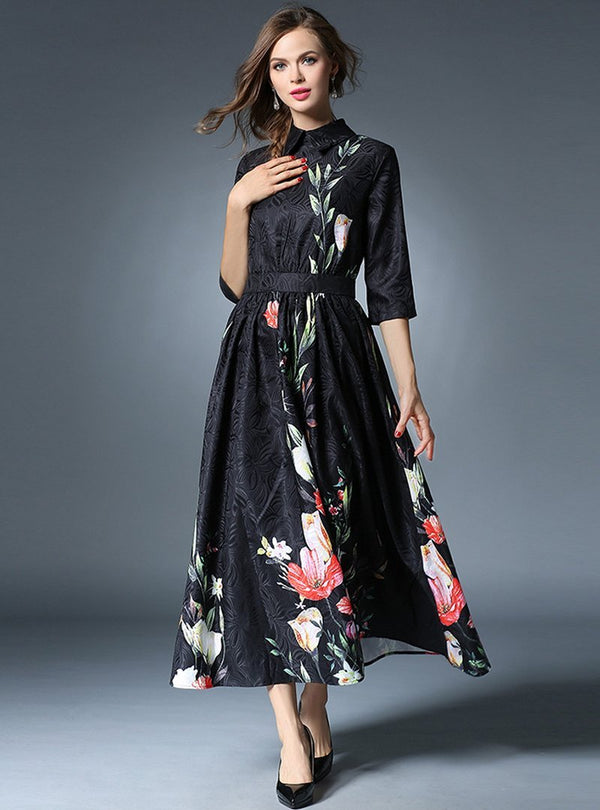 Black Floral Printed Half Sleeve Maxi Dress