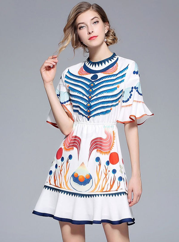 Stand Collar Bell Sleeve Vintage Printed Party Mini Dress