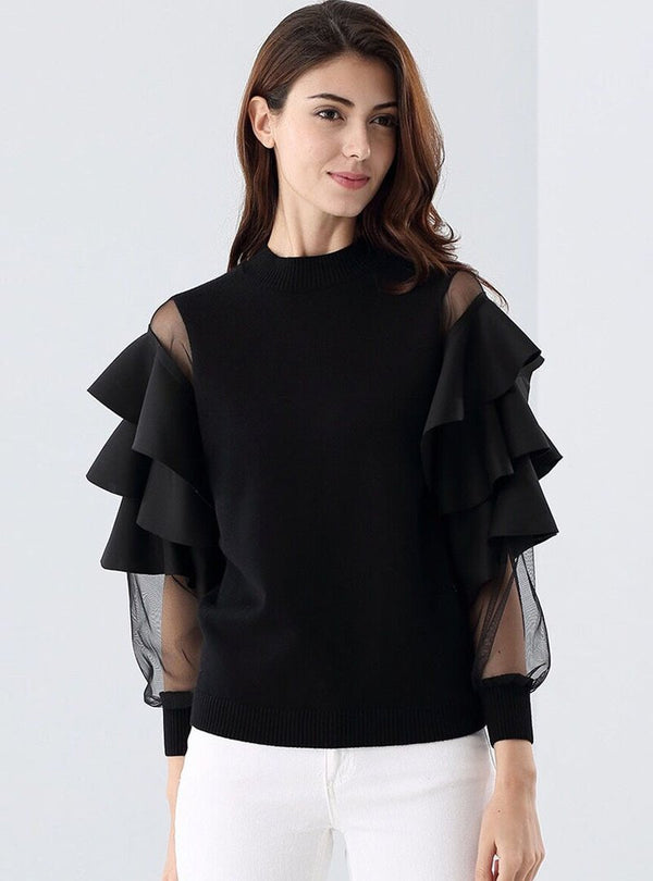 Black Mesh Flare Sleeve T-Shirt