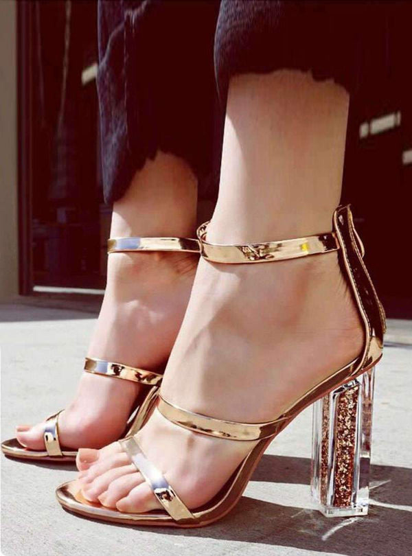 Gold Zipper High Crystal Heel Sandals