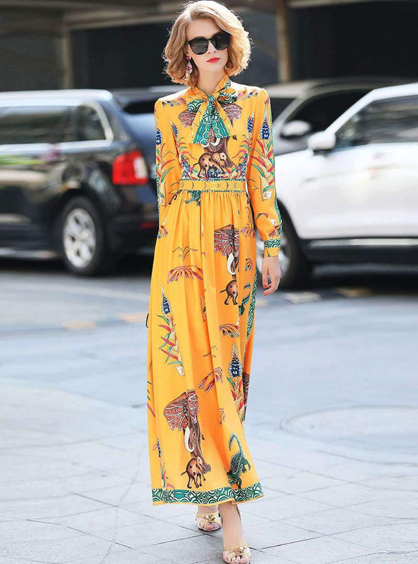 Yellow Floral Printed Cinched Waist Maxi Dress