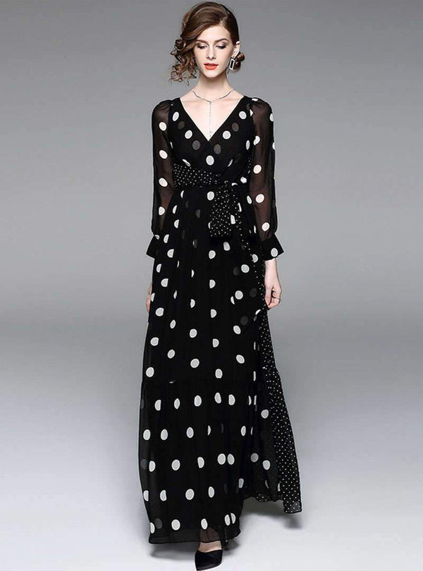 Black Polka Dot Belted Maxi Dress