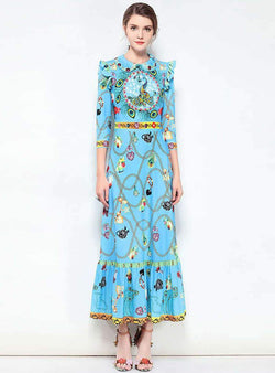 Light Blue Floral Printed Agaric Side Maxi Dress