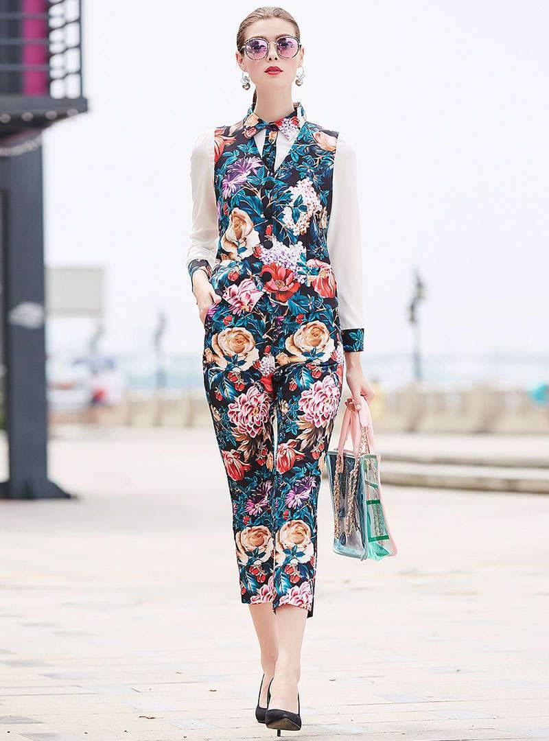 Floral Printed Two Piece Outfits