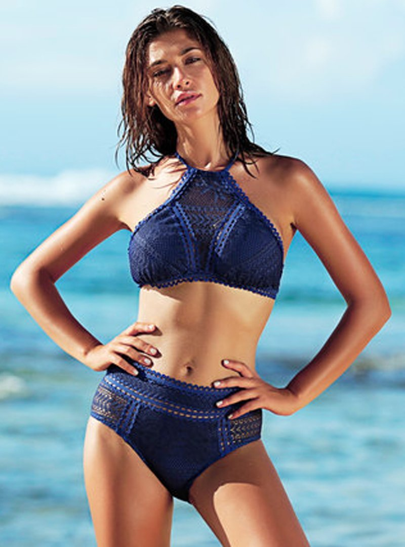 Blue Lace Hollow Out Women's Bikini Set