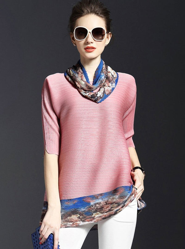 Solid Color V-Neck Half Sleeve Blouse