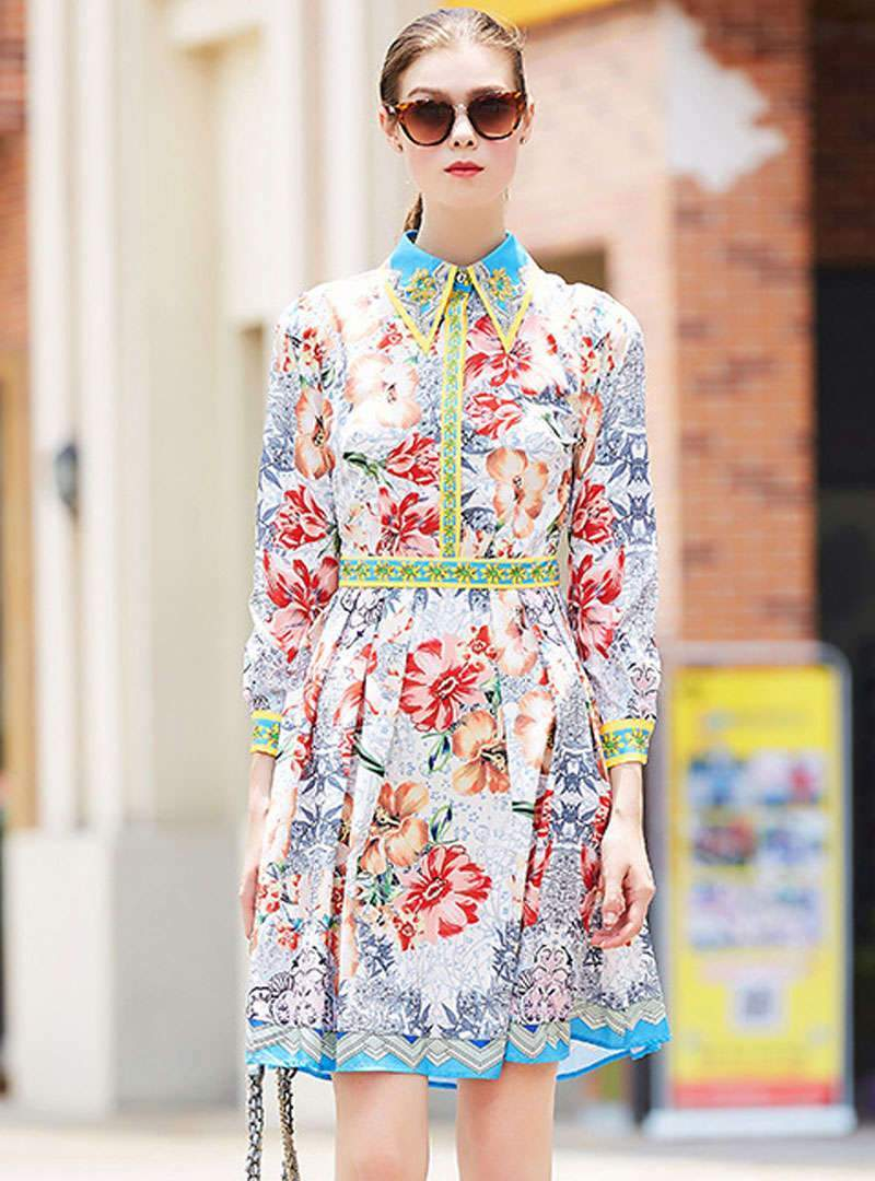 Floral Printed Lapel Beaded Ruffled Midi Dress