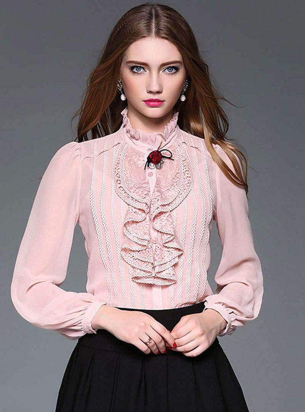 Lace Ruffled Detail Long Sleeve Blouse