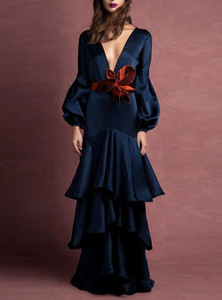 Elegant Noble Slim Plain Deep V-Neck Long Sleeve Evening Dress