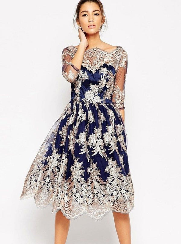Dark Blue Floral Embroided Lace Sleeves A-Line Dress