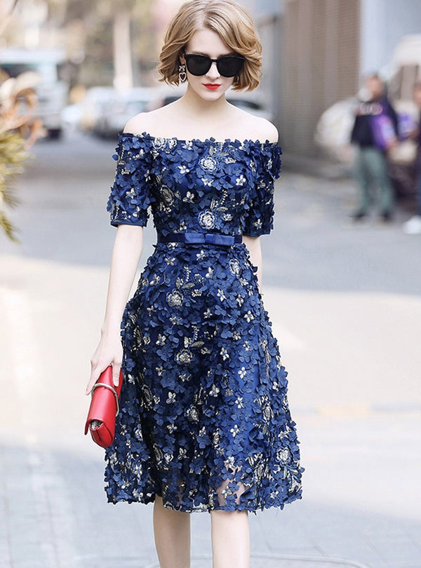 Blue Floral Embroidered Off Shoulder Midi Dress