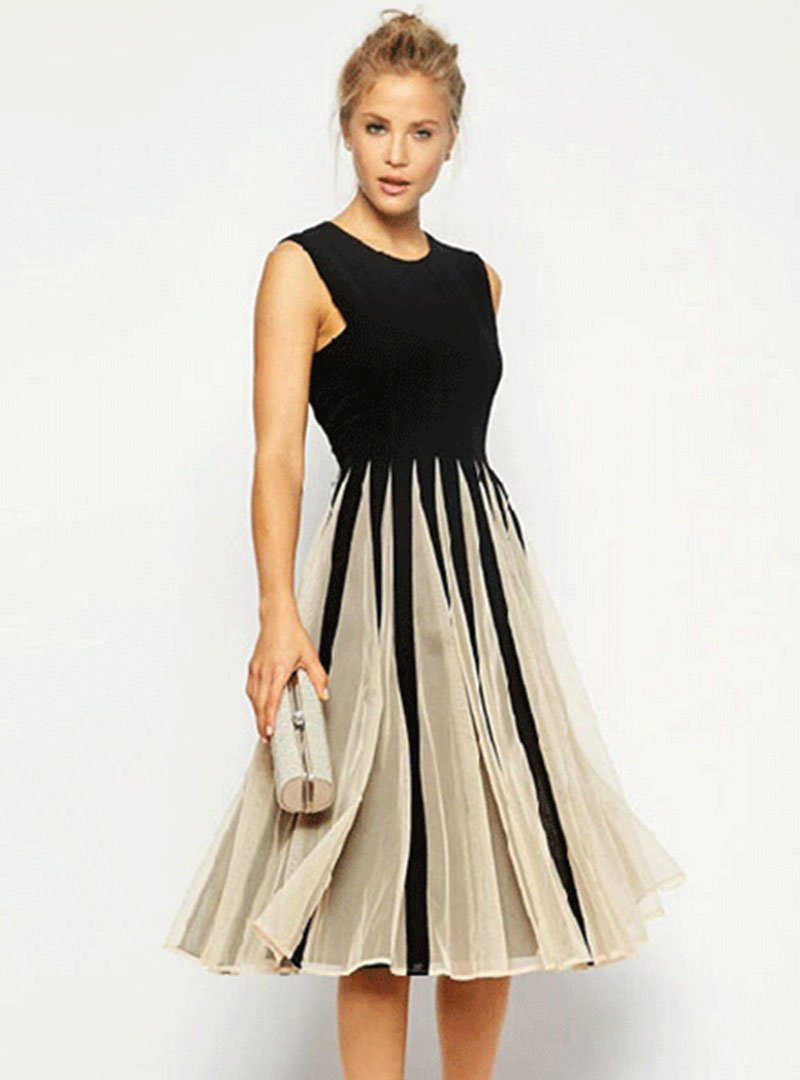 A-line Sleeveless Vintage Paneled Evening Midi Dress