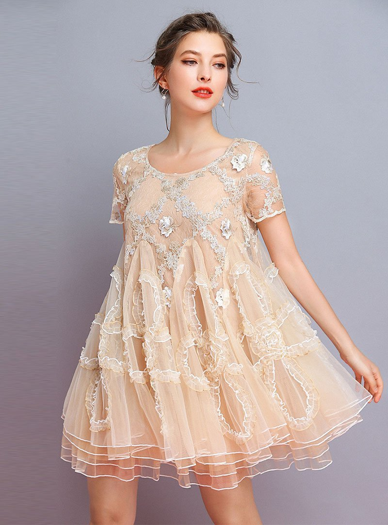 Chic Apricot Embroidered Mesh Splicing Mini Dress