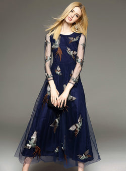 Dark Blue Embroidered Maxi Dress