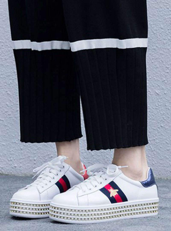 White Platforms Diamond Details Drawstring Sneakers