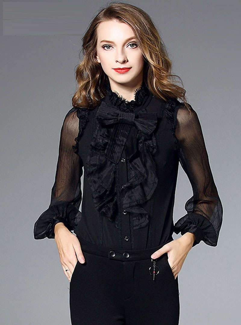 Solid Color Ruffle Long Sleeves Blouse