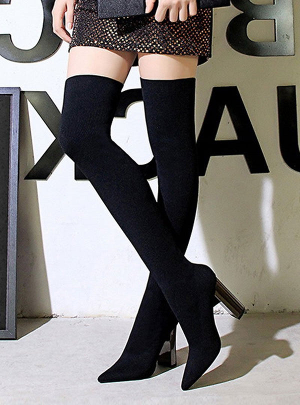 High Chunky Heel Pointed Toe Thigh High Boots