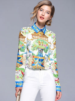 Multi-Color Scenery Printed Blouse
