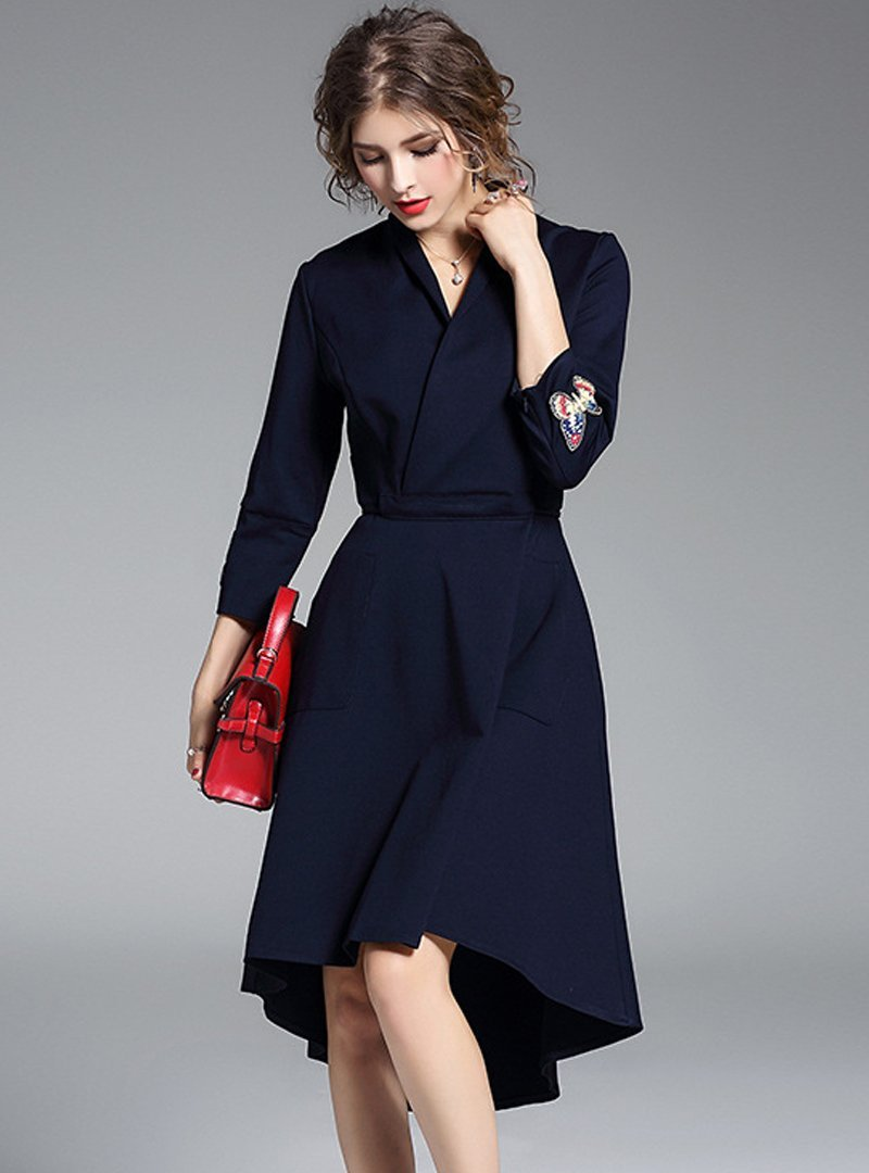 Butterfly Embroidered 3/4 Sleeve Midi Dress