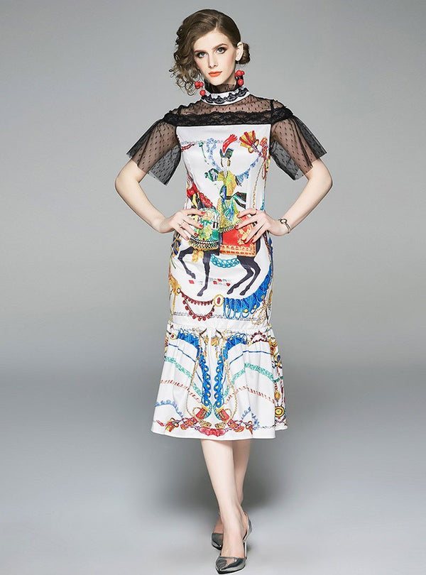Stand Collar Lace Panel Print Fishtail Dress