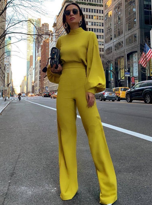 Solid Color High Neck Lantern Sleeve Work Two Piece Suit