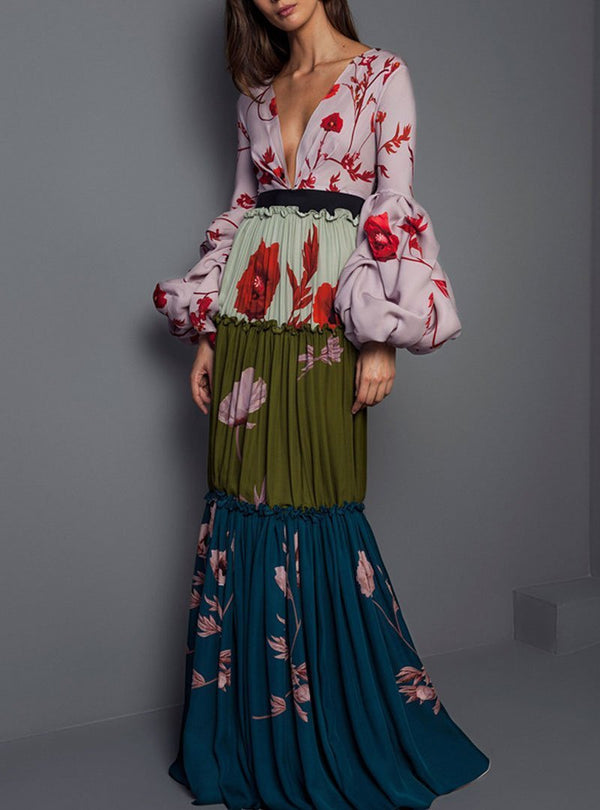 Multi Color Floral Printed Spliced Deep V-Neck Maxi Dress