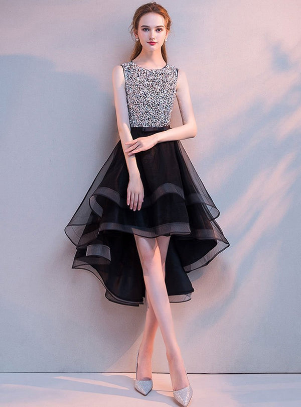 Black Rhinestone Midi Long Evening Dress