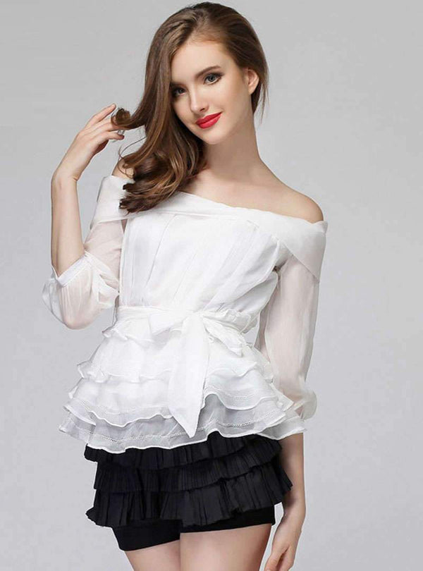 Pure Color Off The Shoulder Blouse With Tie Waist