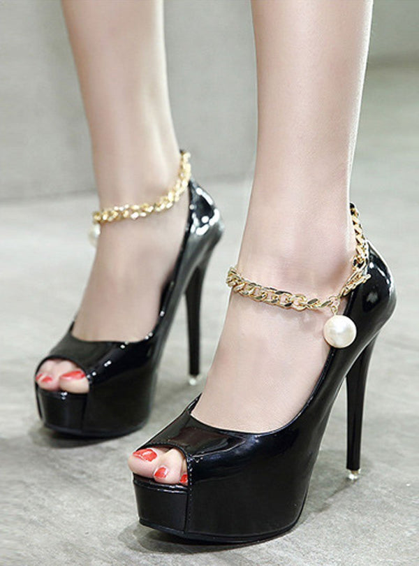 Peep Toe Metal Chain Stiletto Heels