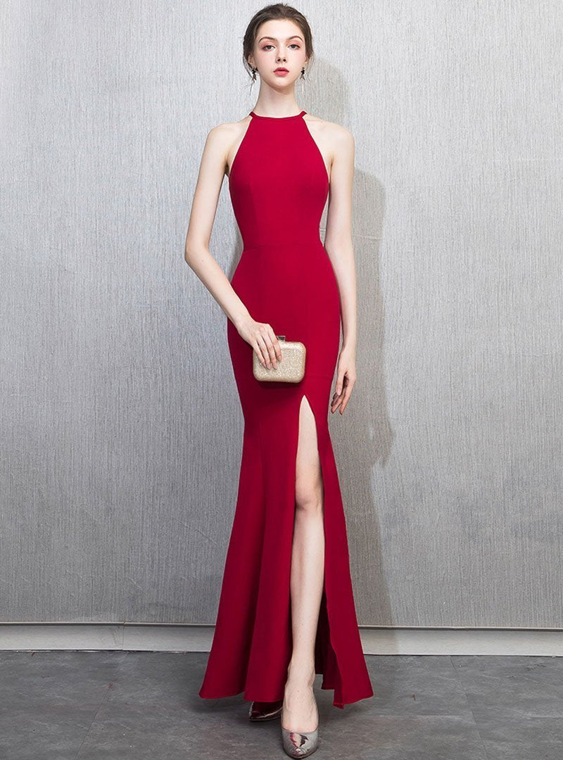 Solid Color Halter Fish Tail Evening Dress