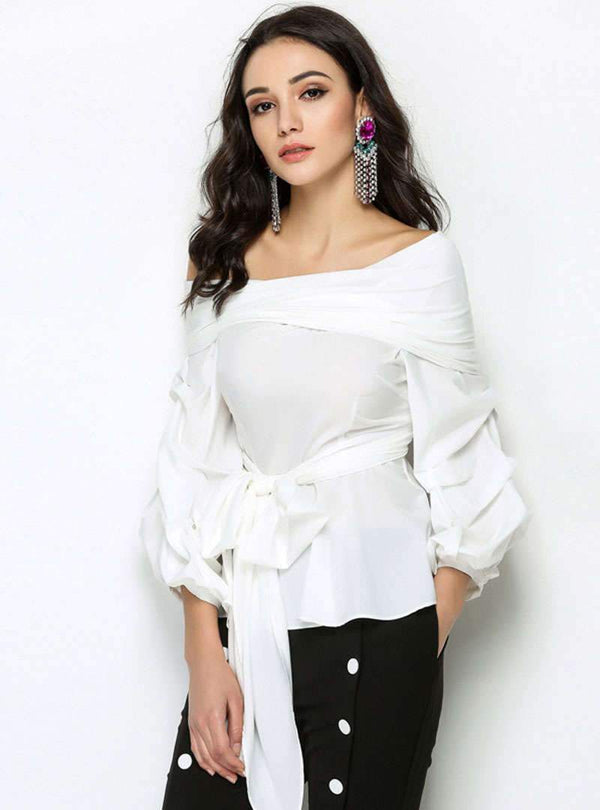 Pure Color Off The Shoulder Tie Waist Blouse