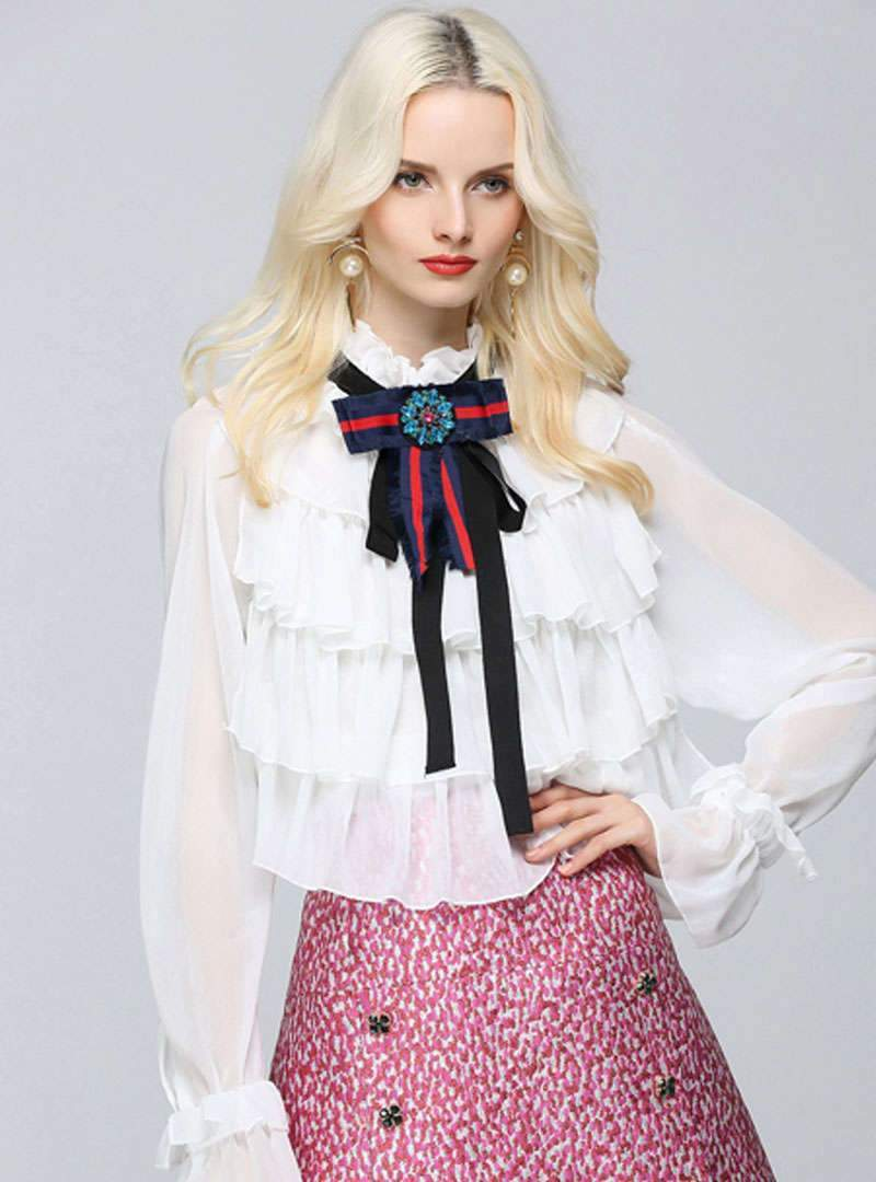 Pure Color Bowknot Chiffon Blouse With See Through Detail