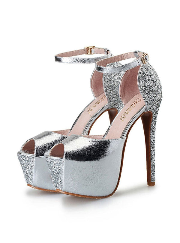 Solid Color Sequined Platform Heels