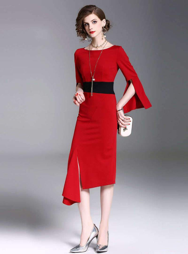 Red Asymmetric Front Split Midi Bodycon Dress