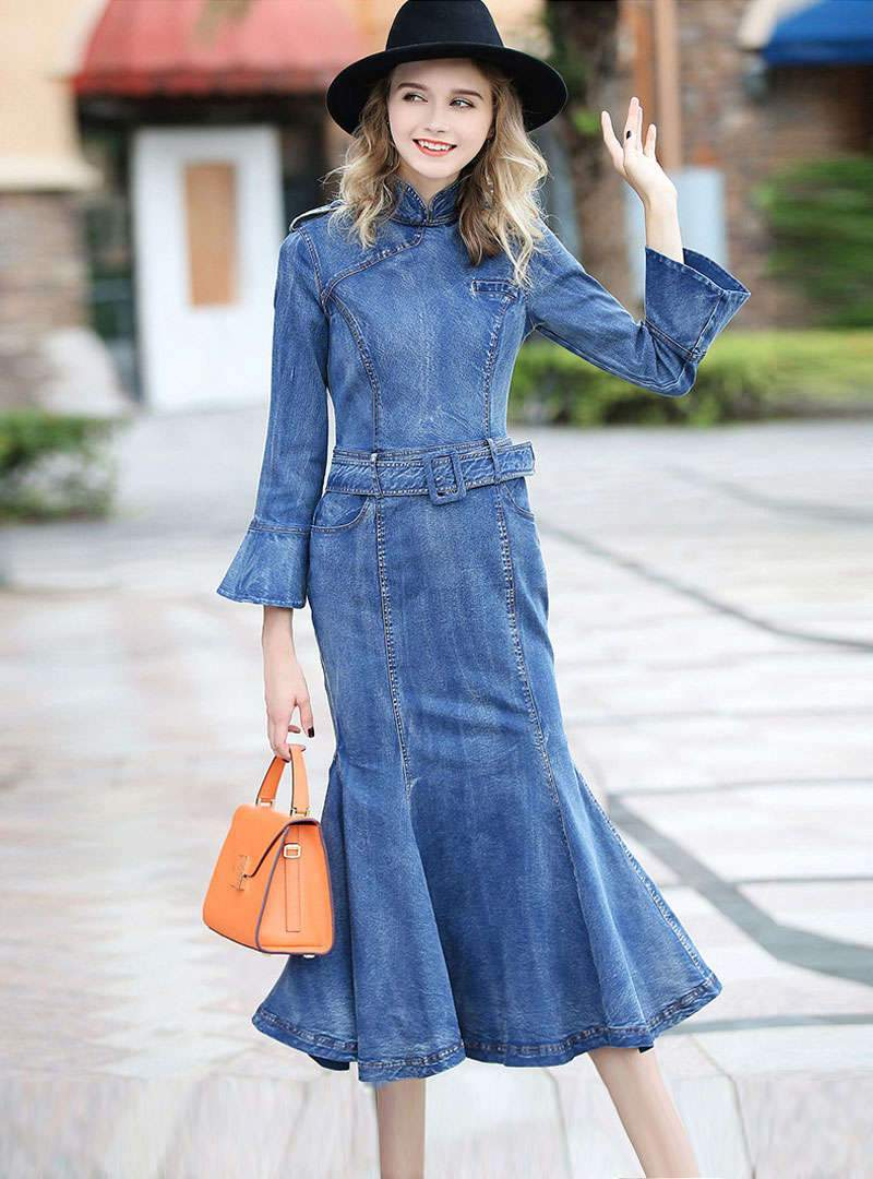 Solid Color Bodycon Fishtail Denim Dress