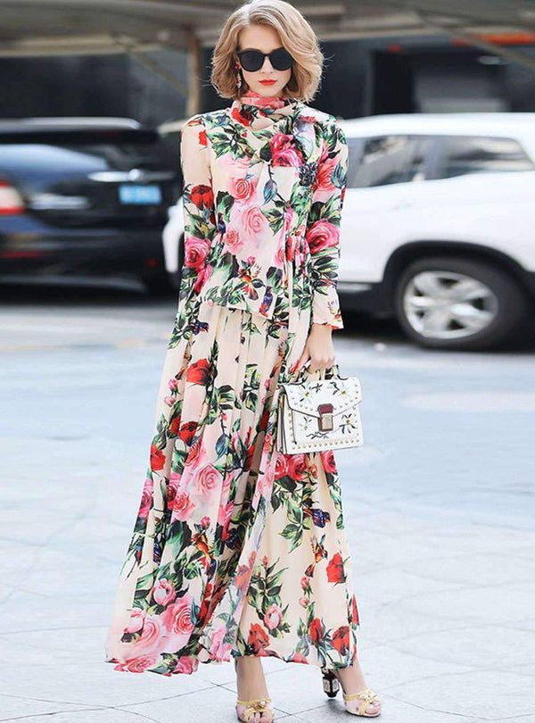 Apricot Rose Printed Tie Waist Maxi Dress