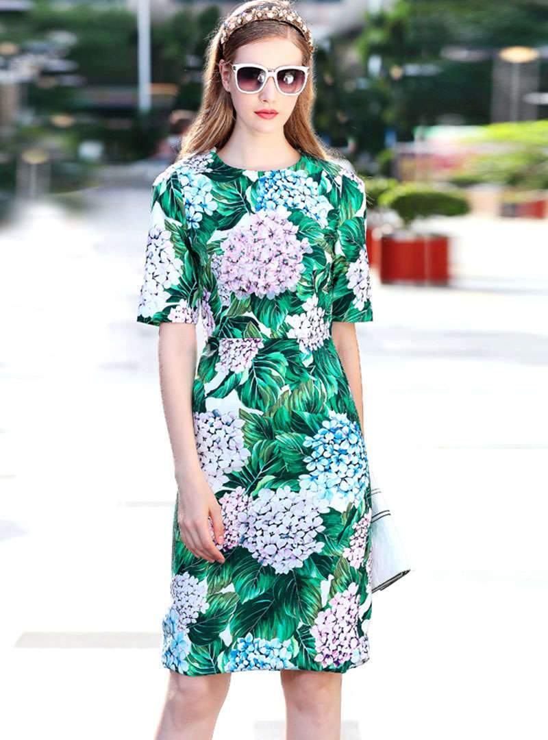 Green Floral Printed Bodycon Midi Dress