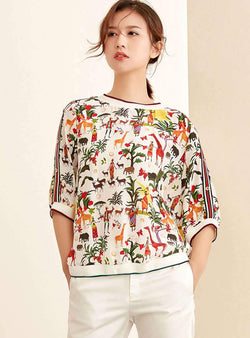 Loose Round-Neck Pullover Printed Silk T-Shirt