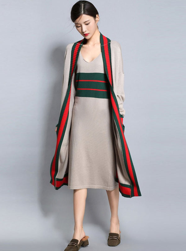 Striped Knitted Sleeveless Dress & Long Sleeves Cardigan
