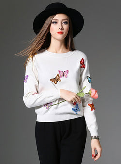 Chic Butterfly Embroidered Knitted Sweater