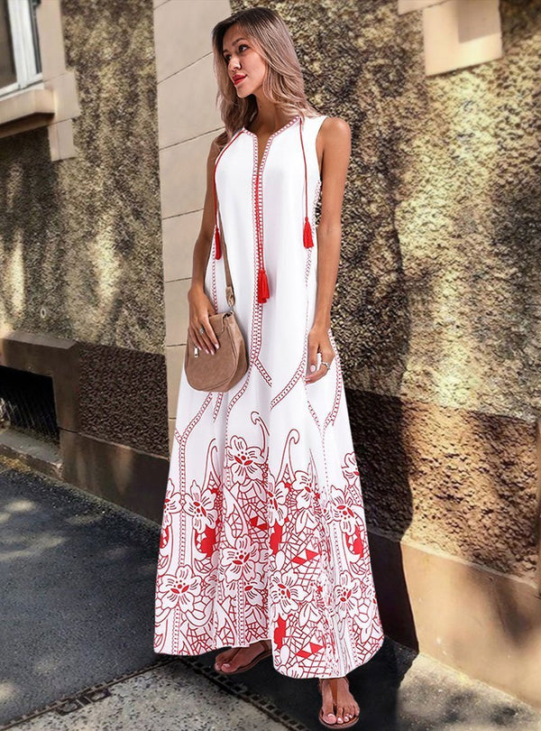 White Floral Sleeveless Maxi Dress