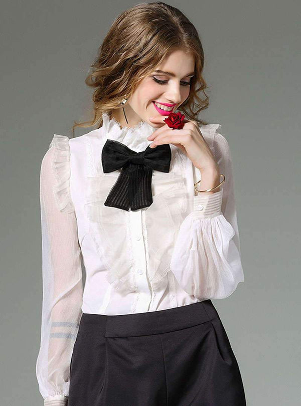 Solid Color Bowknot Ruffled Silk Blouse