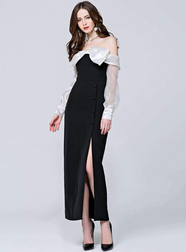Black Bowknot Off The Shoulder Cheongsam Maxi Dress