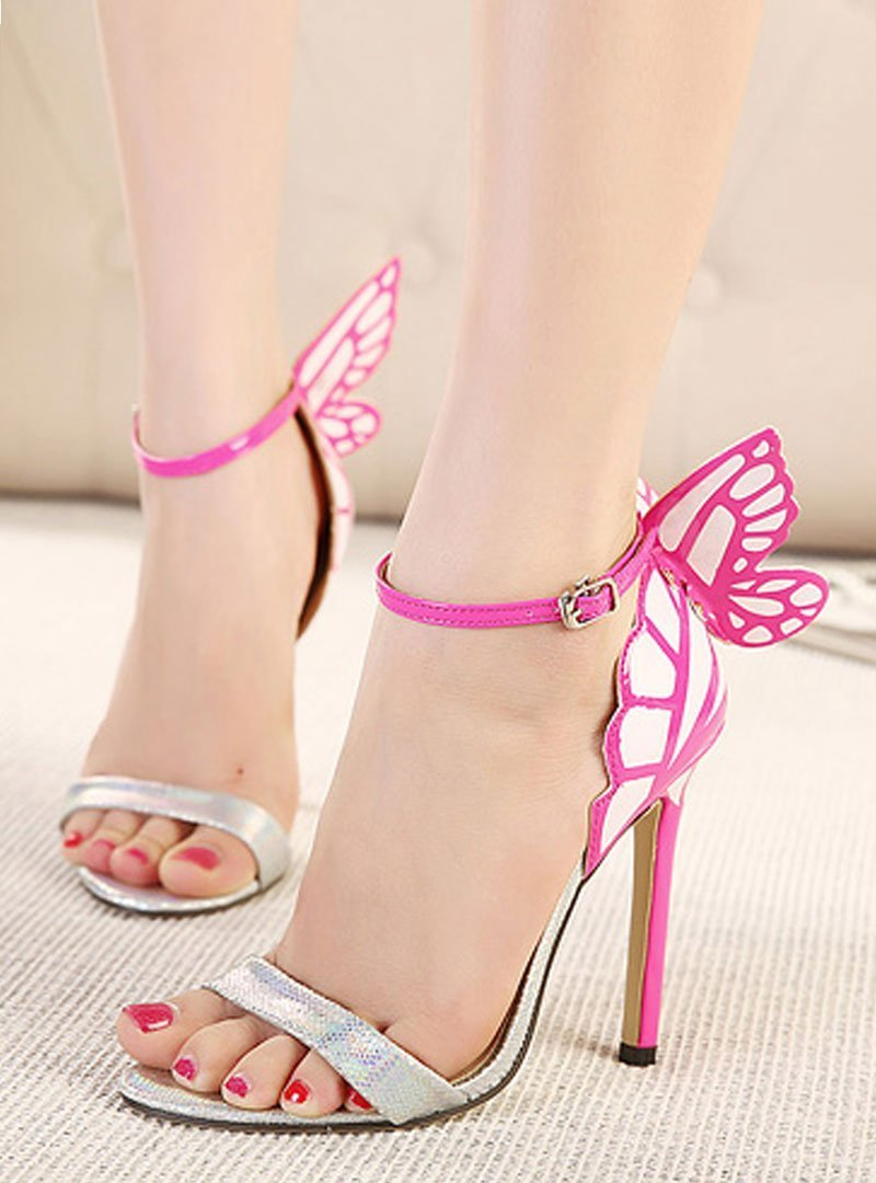 Multi-Color Butterfly Wing Stiletto Heel Sandals