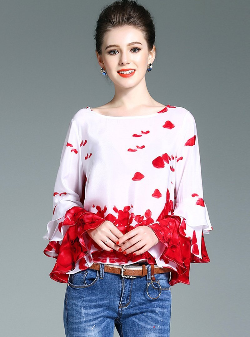 O-Neck Printed Flare Sleeve T-Shirt
