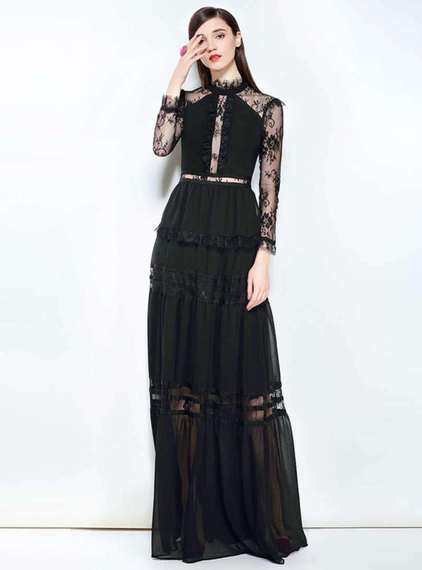 Solid Color Water Soluble Lace Maxi Dress